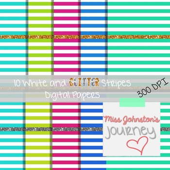 White and Glitter Stripes Digital Papers {Cool Colors}