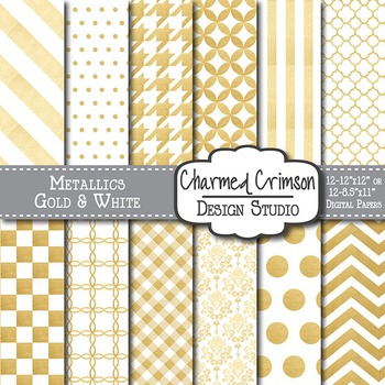White and Gold Metallic Digital Paper 1104