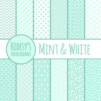 White and Mint Backgrounds / Digital Papers / Patterns Clip Art Commercial Use