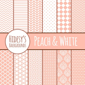 White and Peach Backgrounds / Digital Papers / Patterns Clip Art Commercial Use