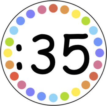 White and Rainbow Spot Clock Numbers