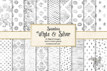 White and Silver digital paper, seamless shimmering backgrounds and patterns