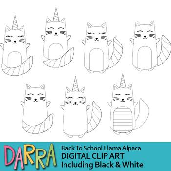 White cat and catcorn clipart (cat unicorn clip art)