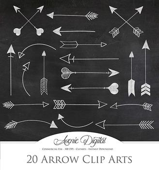 White chalkboard Arrow Clipar - vector clip art