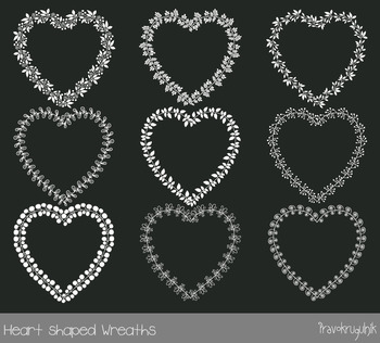 White heart shaped wreaths clipart, Heart border clip art, Love heart frame set