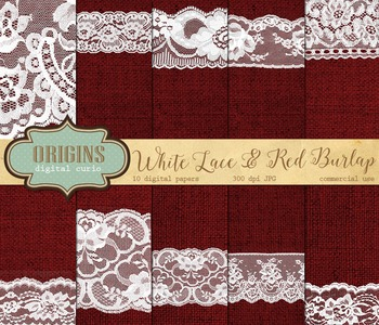 White lace and red burlap digital paper textures backgrounds