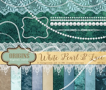White pearls and lace digital scrapbooking kit, digital paper burlap backgrounds