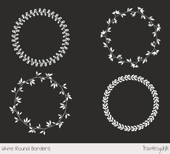 White round borders and frames clipart set, White wreaths clip art, Leaf circle