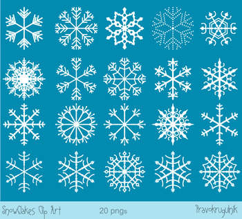 White snowflakes clipart, Black snowflake clip art, Winter holiday clipart