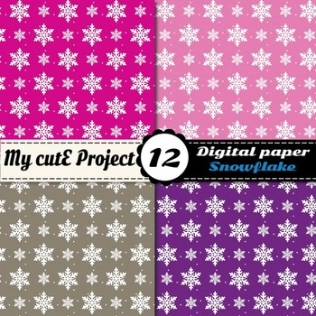 White snowflakes pattern on 12 bright colors backgrounds DIGITAL PAPER