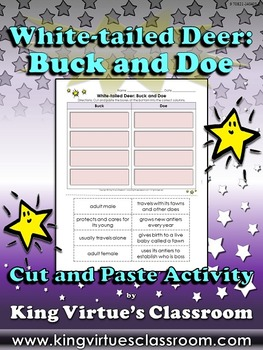 White-tailed Deer: Buck and Doe Cut and Paste Activity #1 - King Virtue