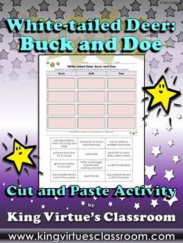 White-tailed Deer: Buck and Doe Cut and Paste Activity #2 - King Virtue