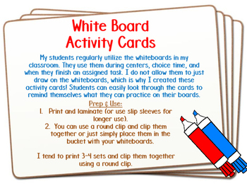 Whiteboard Activity Cards