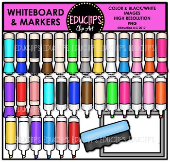 Whiteboard & Colorful Markers Clip Art Bundle {Educlips Clipart}