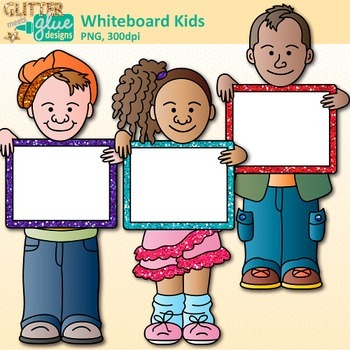 Whiteboard Kids Clip Art {Great for Back to School, Posters, & Brag Tags}