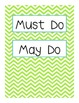 Whiteboard Labels: Must Do & May Do PLUS Days of the Week