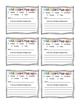 Whiteboard Morning Message Student Idea Tickets