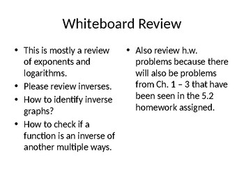 Whiteboard Review of Logarithms with accompanying handout