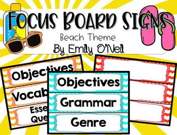 Focus Board Signs (Beach Theme)