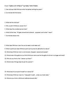 Whitman Song of Myself Comprehensive Questions and Answers