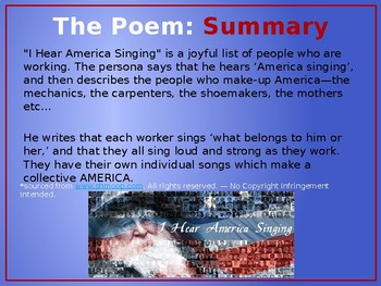 Analysis of Walt Whitman's 'I Hear America Singing', PPT