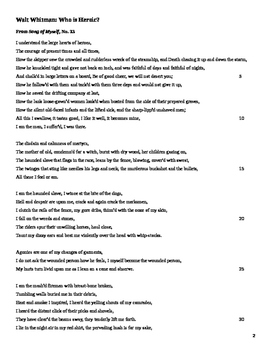 Whitman's Song of Myself, No. 33, Analysis Questions