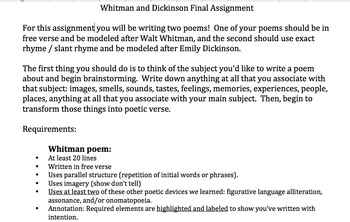 Whitman/Dickinson Final Project