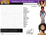 Whitney Houston Wordsearch Black History Month Keywords Music Homework Cover