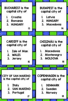 GEOGRAPHY EUROPE COUNTRIES & CAPITAL CITIES - 4 QUIZZES, 4 CHALLENGES!