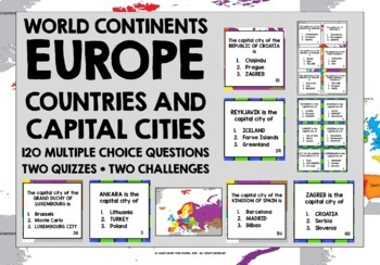 GEOGRAPHY - EUROPE QUIZZES - COUNTRIES & CAPITAL CITIES