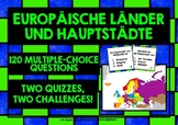 GERMAN - EUROPE COUNTRIES & CAPITAL CITIES - 4 QUIZZES, 4
