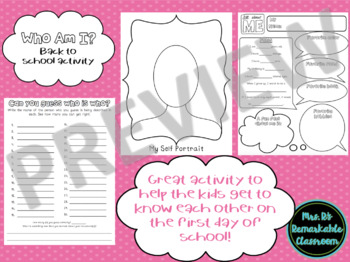 Who Am I? ~ A Back to School Get to Know You Activity
