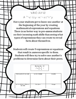 Who Am I? A Beginning of the Year Math Activity