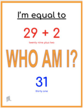 Who Am I? Adding and subtracting game - Numbers 0 - 50