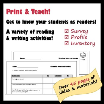 Who Am I As A Reader? A Reading Survey, Inventory, & Interest Unit