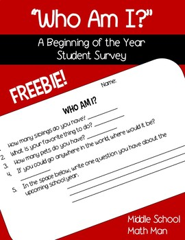 Who Am I? Back to School Student Survey