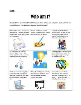Who Am I? Choice Board