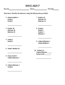 Who am i elements review activity tpt who am i elements review activity urtaz Gallery