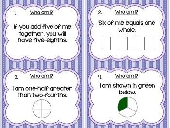 Who Am I? Fraction Task Cards for Basic Fraction Concepts