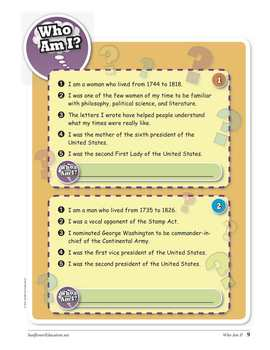 Who Am I? Fun Guessing Games About 100 Famous Americans in History!