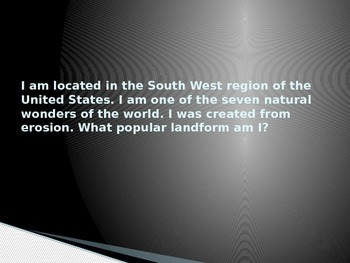 What Am I? Geography Landform Review PPT for Test Prep