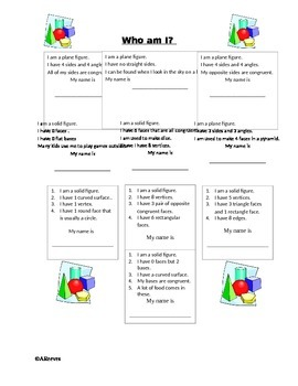 Who Am I? Geomteric Shapes Activity