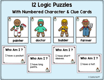 Gingerbread Man Logic Puzzles - Who Am I?