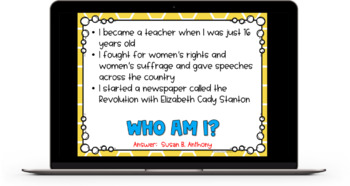 Who Am I? Important People in History Game - 4th Grade