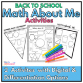 Back to School Math Activities: Math About Me for Middle School