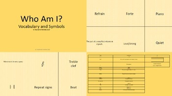 Who Am I - Music Vocabulary and Symbols