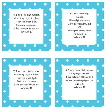 Who Am I Number Clue Cards for Common Core Math 2nd Grade Blue