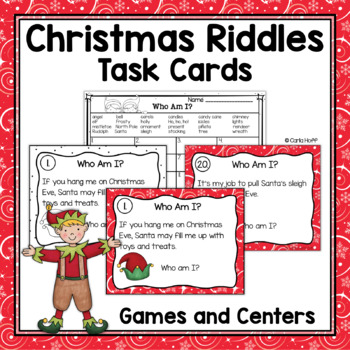 Christmas Riddles Task Cards - Who Am I?  Read & Write the Room