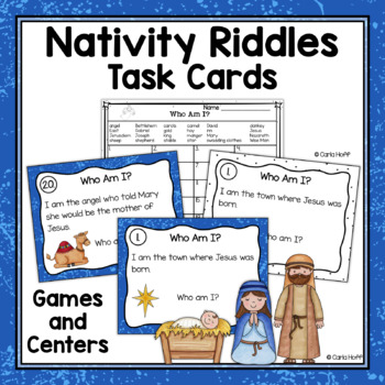 Who Am I?  Read & Write the Room Nativity Riddles {Task Cards}