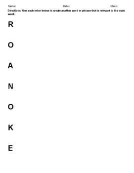 Who Am I? Roanoke Lost Colony-Worksheet Activity with Acrostic